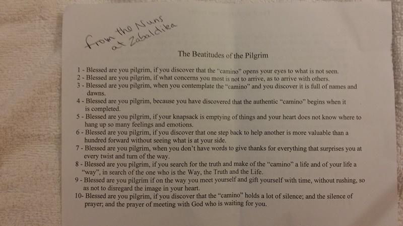 Camino Pilgrim Beatitudes
