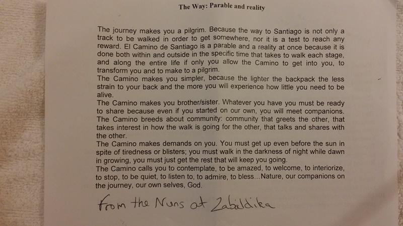 Camino Pilgrim's Prayer